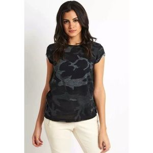 FREE PEOPLE black combo camo tee- Medium